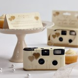 Single Use Disposable Camera - Ivory & Gold Hearts