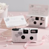 Single Use Disposable Camera - White & Silver Hearts